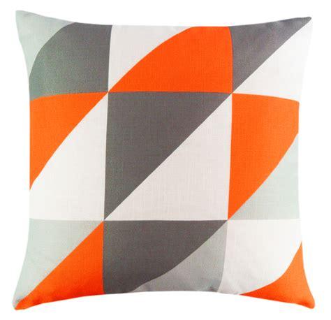 orange cusions orange grey linen geometric design 18 inch cushion cover geo