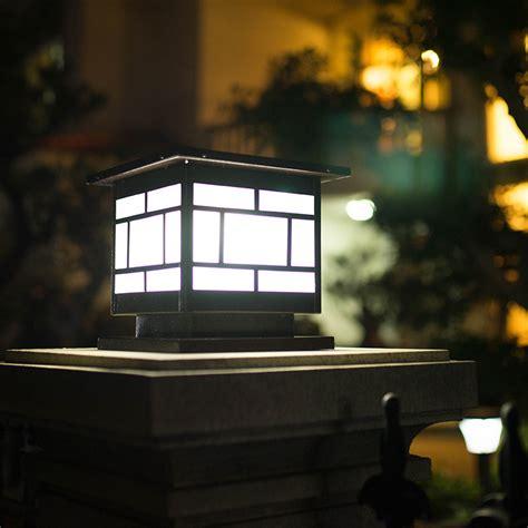 solar column headlights wall lights outdoor garden ls