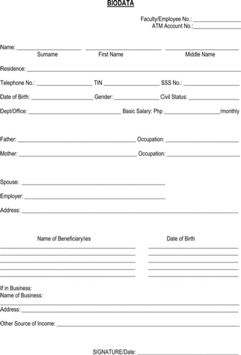 personal bio data form bio data form for excel pdf and word