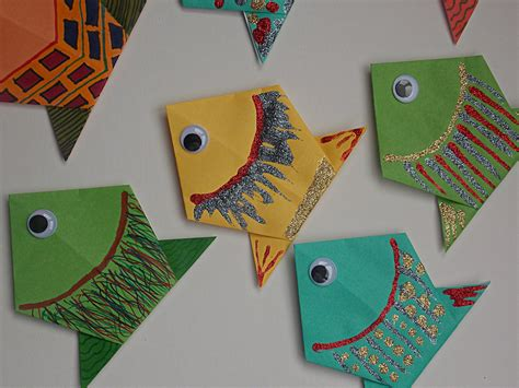 easy paper folding crafts origami fish easycraftsforchildren
