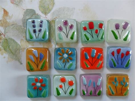 glass for craft projects fused glass tiles flowers floral handmade for mosaic