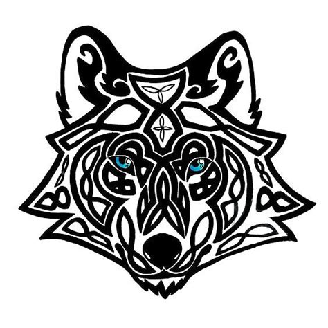 celtic wolf head tattoo design