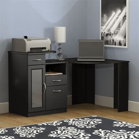 black corner computer desks for home vantage corner home office computer desk in black