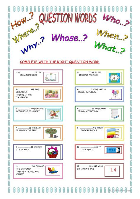 and activities question words worksheet free esl printable worksheets