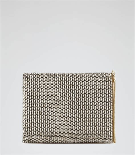 Silver Beaded Clutch Bag Reiss