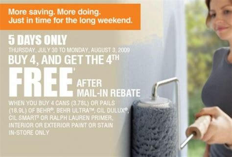 home depot paint sale canada home depot canada paint sale buy 4 get 1 free