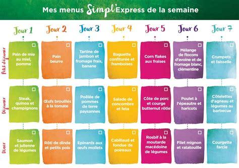 1ere semaine de menu simpl express kanisette