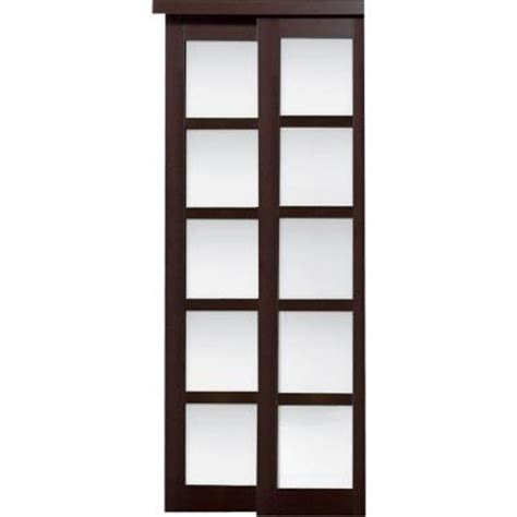 home depot closet doors sliding truporte 48 in x 80 in 2240 series espresso 5 lite