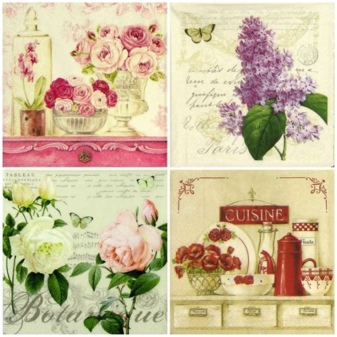 retro decoupage paper 4x vintage flowers mix paper napkins for decoupage