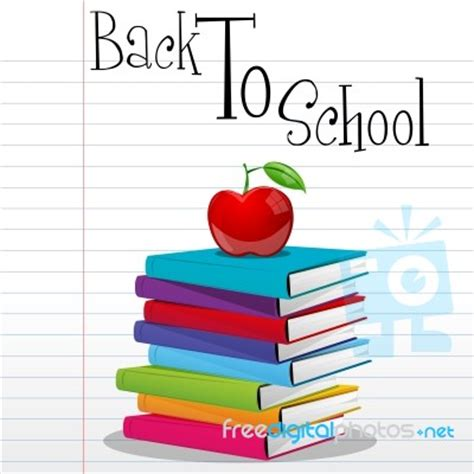 for school books with back to school text stock image royalty free