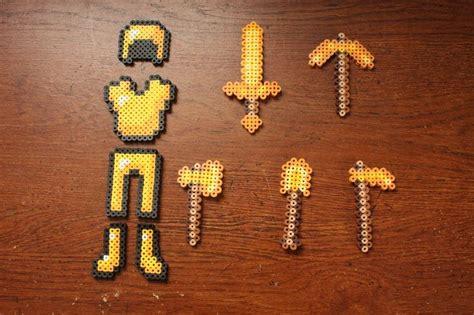 gold perler perler bead minecraft gold set by puppylover5 minecraft