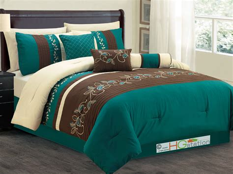 brown comforter set king 7 pc laurels leaves scroll embroidery comforter set teal