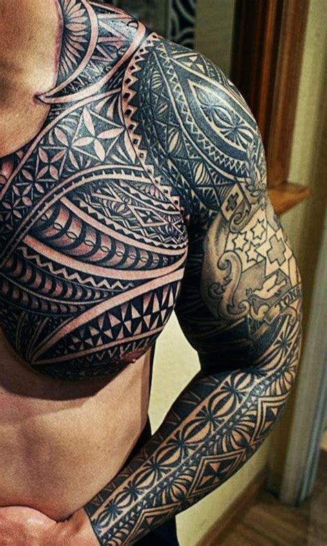 wicked mens tribal chest and arm tattoo http www