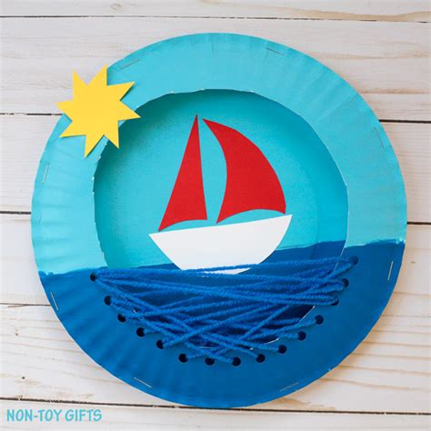 boat crafts for paper plate boat family crafts