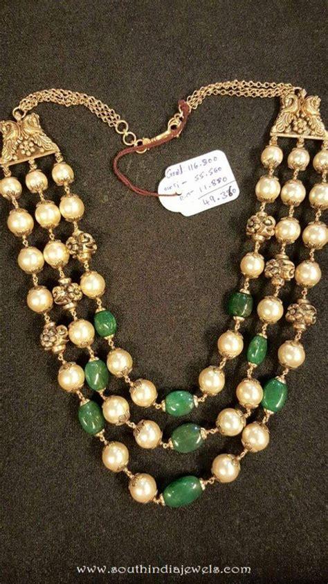 emerald mala pearl mala designs page 3 of 8 south india jewels