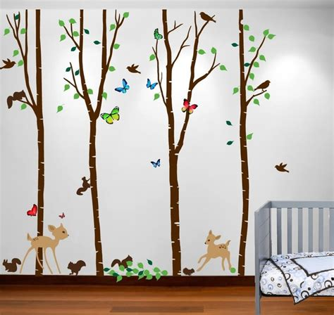 forest nursery wall decals birch tree forest set with deer birds animals squirrels