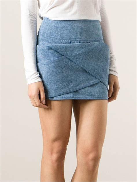 origami mini skirt skirt origami fold denim miniskirt mini skirt denim