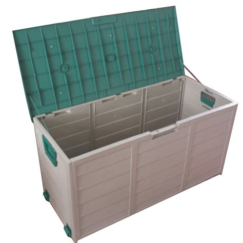 plastic patio storage boxes new garden outdoor plastic storage chest shed box container with lid wheels ebay