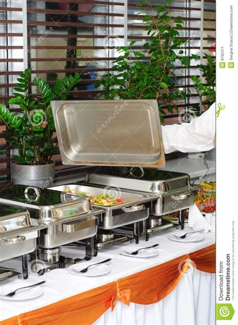 chafing dish heater with fish kebab stock image image