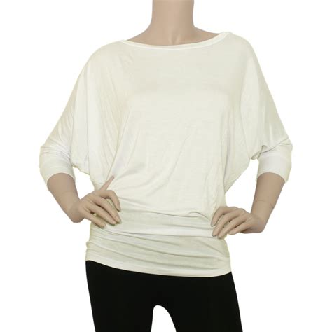white knit blouse iron puppy womens 3 4slv boatneck dolman batwing top knit