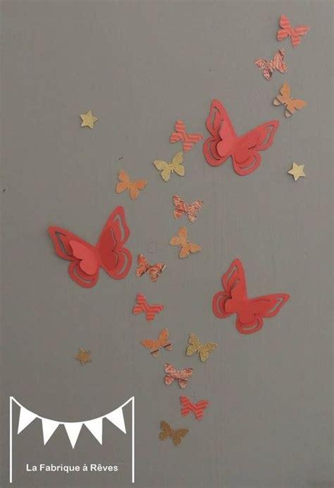 25 stickers papillons corail abricot p 234 che gris et dor 233 d 233 coration chambre enfant b 233 b 233 fille