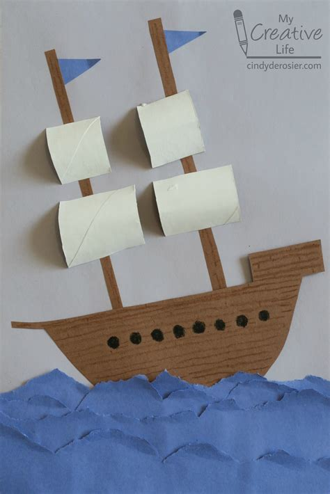 crafts for with paper construction paper explorer ship family crafts