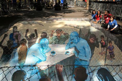 sidewalk spray paint in new york city syria 3d a sidewalk inspiration for peace talks oxfam