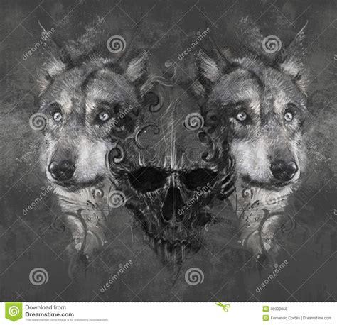 wolf illustration with skull tattoo stock illustration