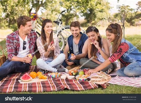 with friends happy friends park picnic on stock photo 257801638