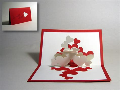 pop card kirigami quot pile of hearts quot pop up card happy folding