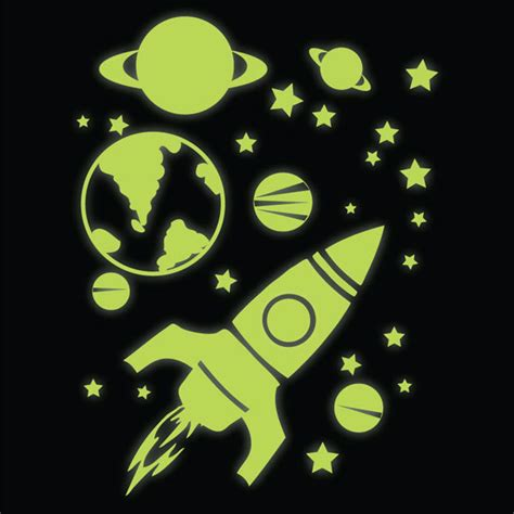 glow in the wall sticker glow in the rocket planets and wall stickers