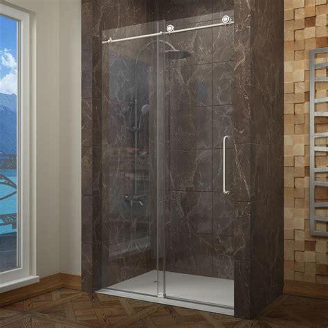 sliding glass shower doors frameless anzzi madam series 48 in by 76 in frameless sliding