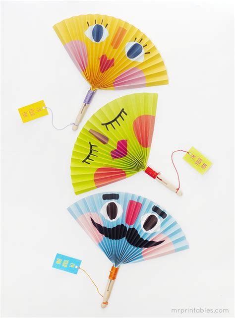 paper craft fan summer paper fans mr printables