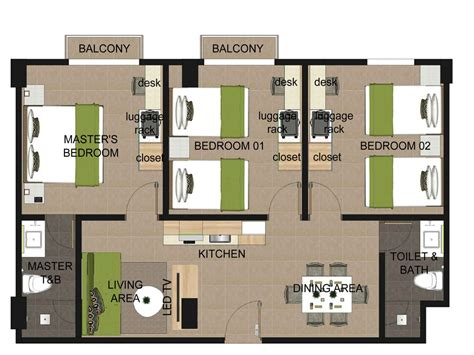 3 bedroom plan three bedroom suite azalea boracay