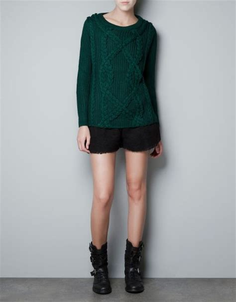 zara knit jumper zara cable knit jumper in green green lyst