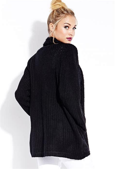 knit cardigan forever 21 forever 21 cozy mixed knit cardigan in black lyst