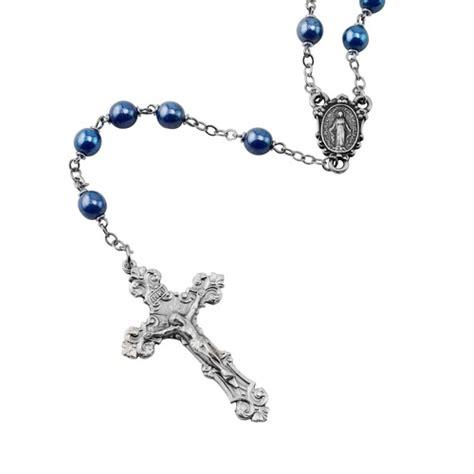 blue rosary blue glass rosary the catholic company