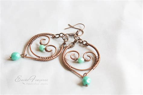 earrings with wire copper wire wrapped earrings and turquoise glass