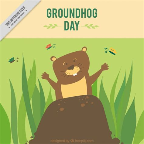 groundhog day used to something smiling groundhog on its lair background vector