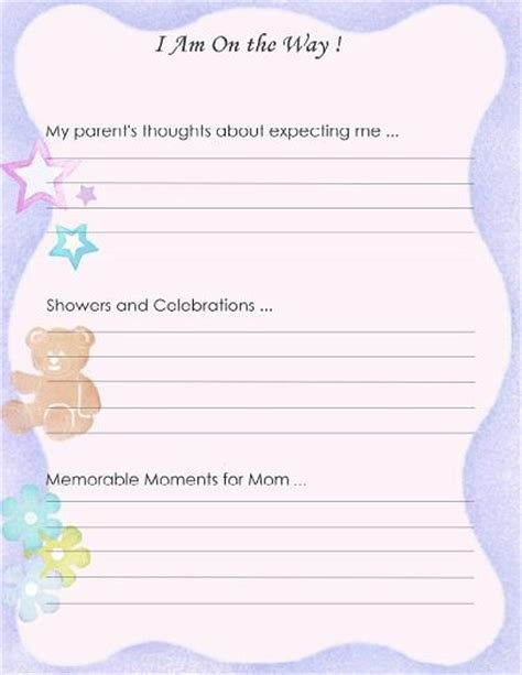 baby picture book ideas free printable baby book page quot i am on the way