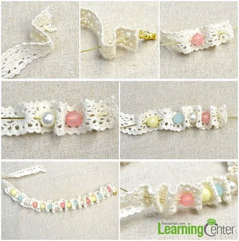 how to make lace jewelry free tutorial on a lace bracelet with colorful