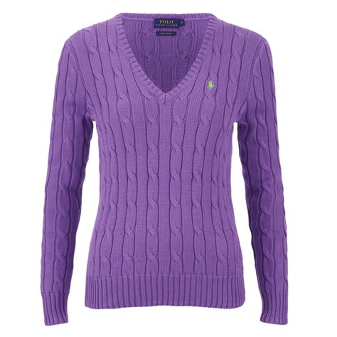 ralph womens knitted jumper polo ralph s jumper laguna purple