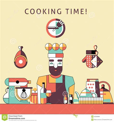 cooking time poster stock vector image 46200868