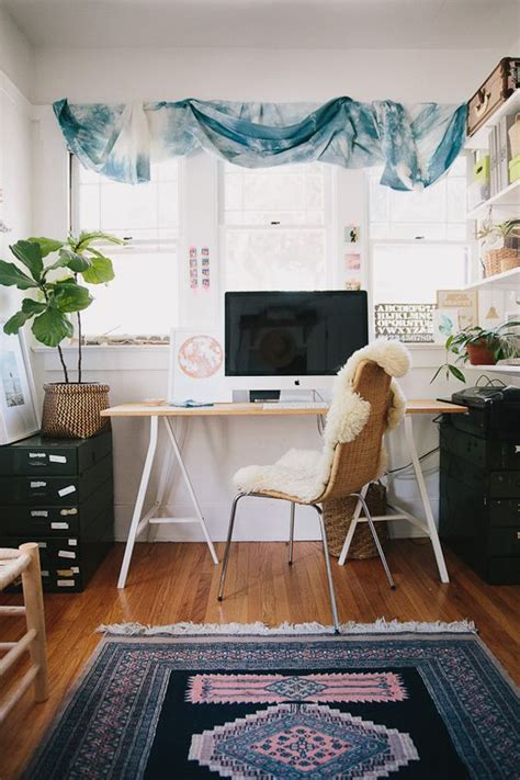 Colorful Area Rugs by 5 Boho Home Offices That Are Goals