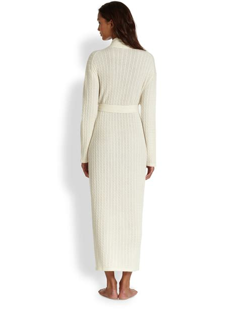 cable knit robe saks fifth avenue cable robe in white lyst