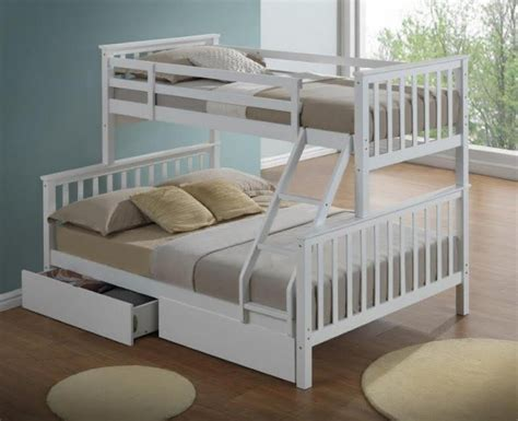3 bunk beds artisan new 3 sleeper wooden bunk bed white