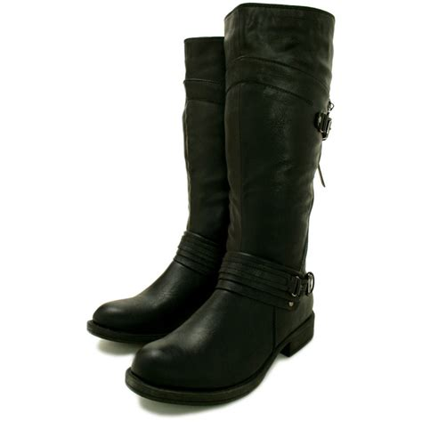 leather knee high boots for buy flat knee high biker boots black leather style