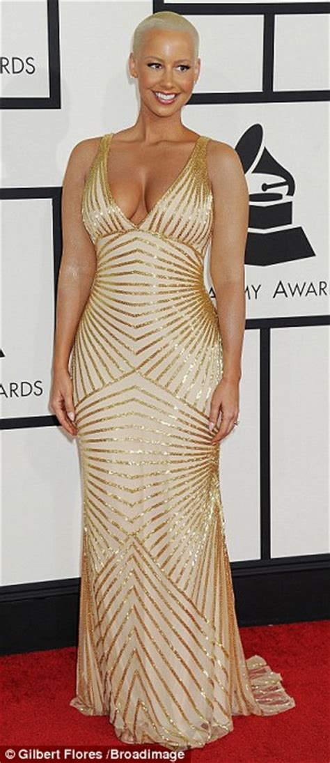 grammys 2014 amber rose s tattoo sleeves vanish beneath