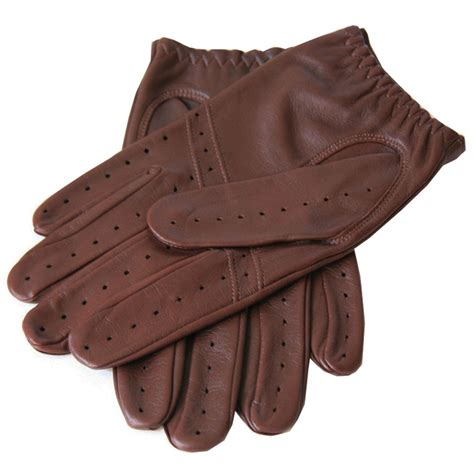 brown leather gloves mens black co uk s cognac leather driving gloves in brown for lyst