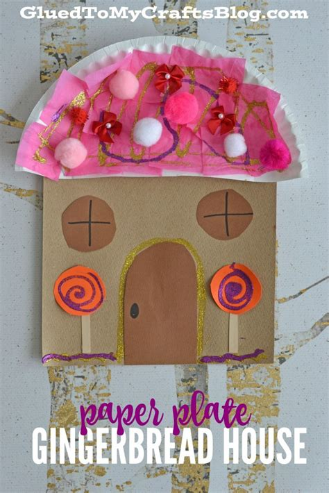 gingerbread house paper craft paper plate gingerbread house kid craft glued to my crafts